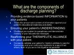 what are the components of discharge planning