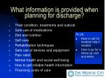what information is provided when planning for discharge