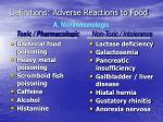 definitions adverse reactions to food