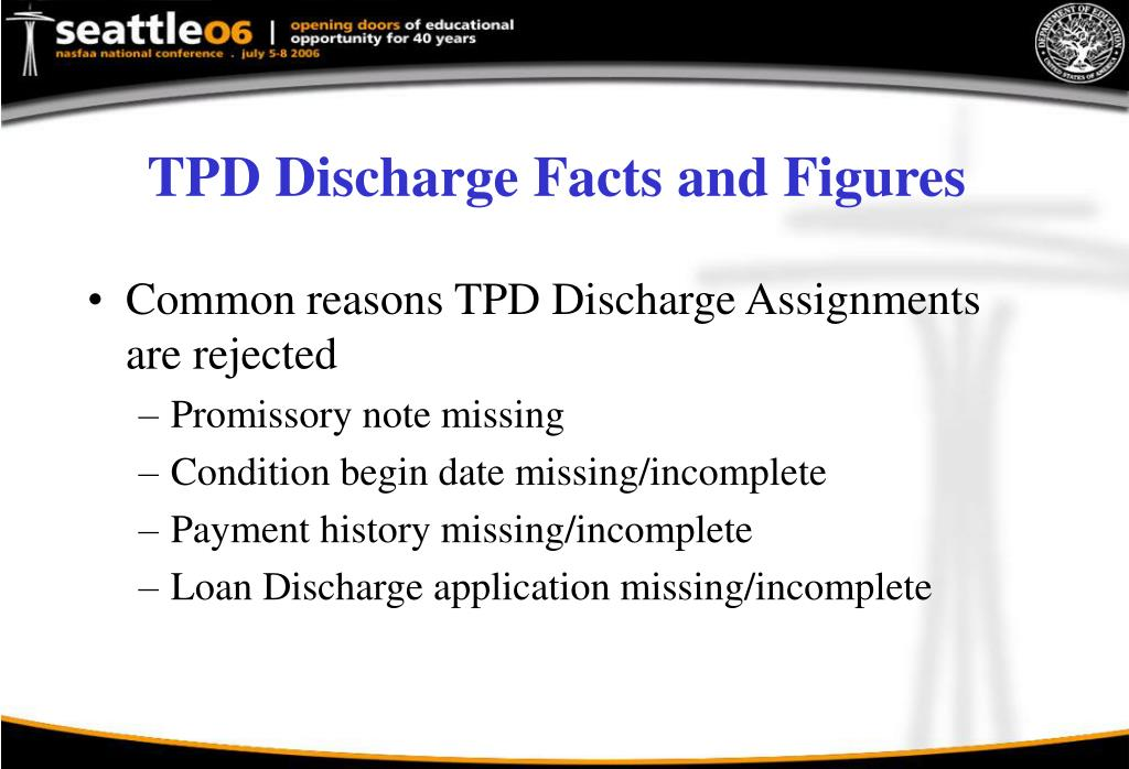 TPD Discharge Facts and Figures