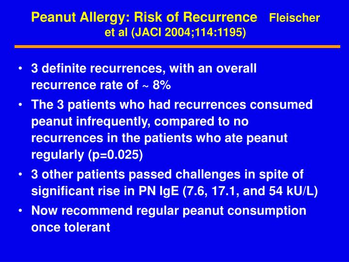 Peanut Allergy: Risk of Recurrence
