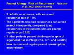 peanut allergy risk of recurrence fleischer et al jaci 2004 114 11951