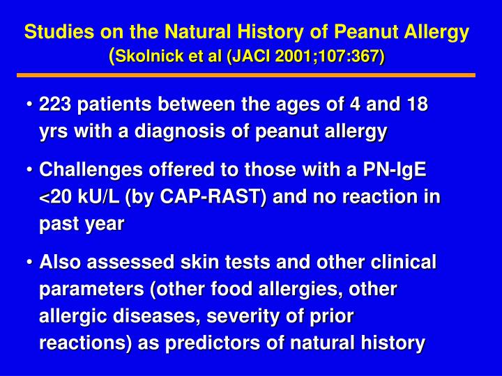 Studies on the Natural History of Peanut Allergy (