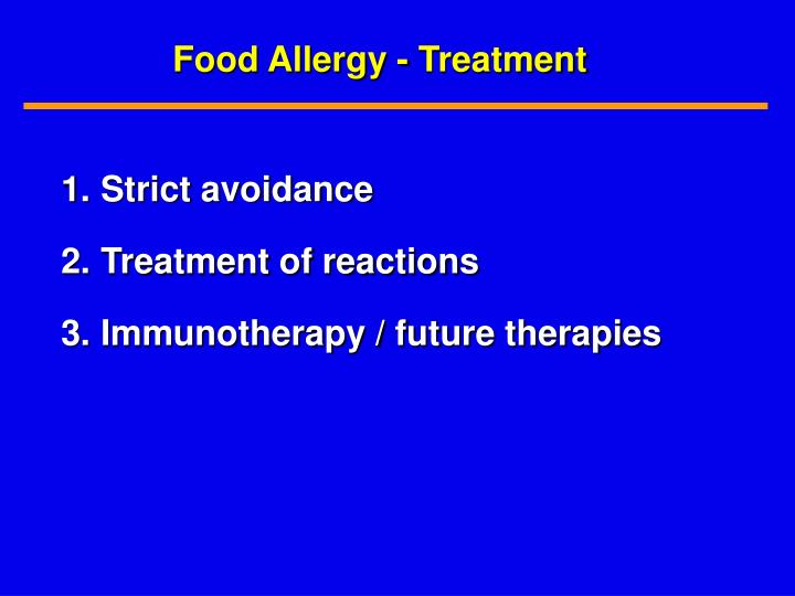 Food Allergy - Treatment