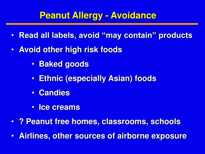 Peanut Allergy - Avoidance