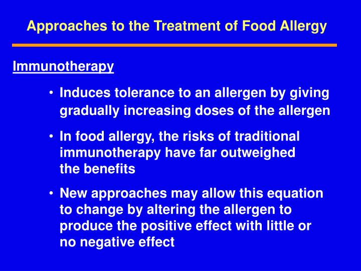 Approaches to the Treatment of Food Allergy