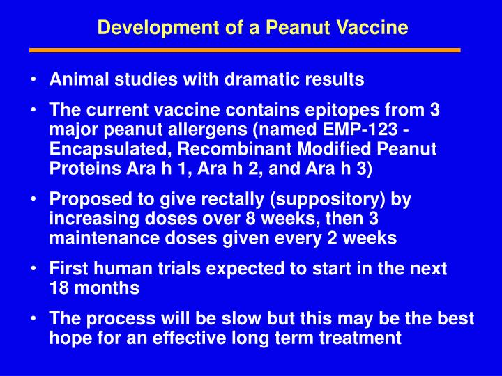 Development of a Peanut Vaccine
