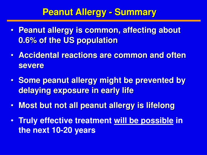 Peanut Allergy - Summary