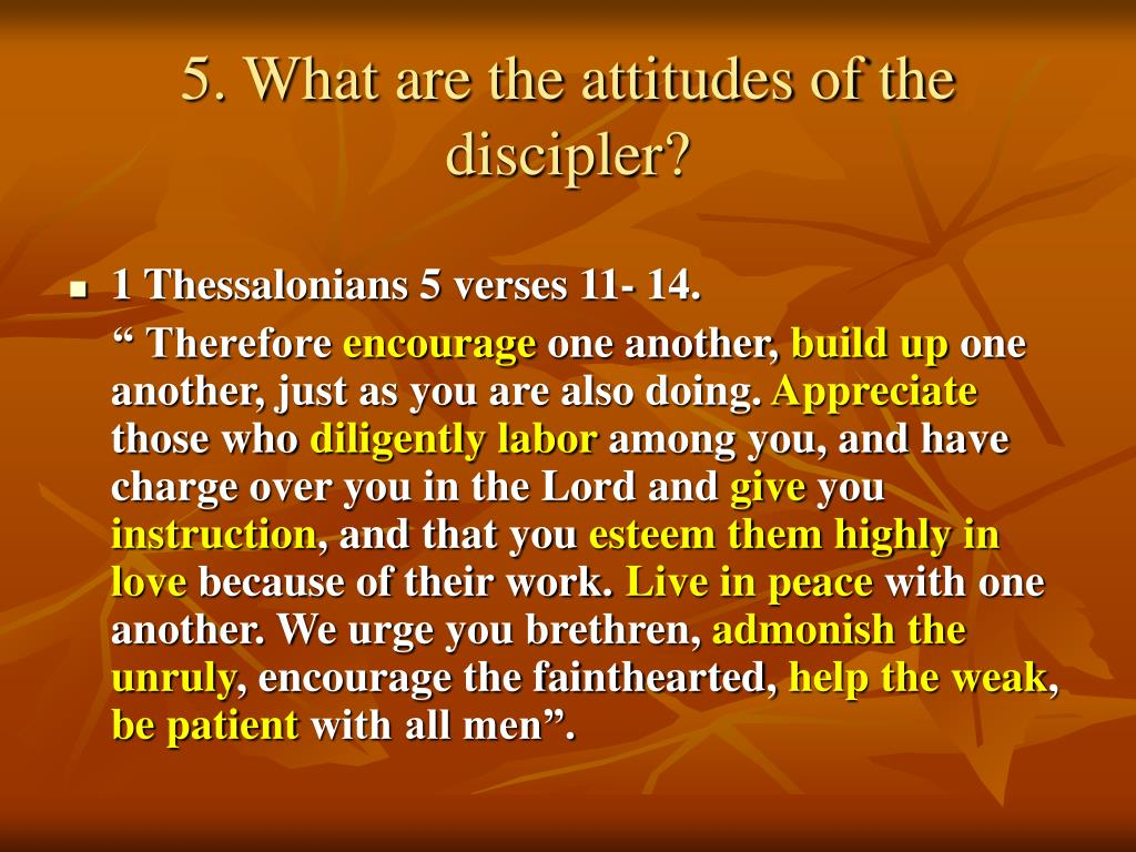 5. What are the attitudes of the discipler?