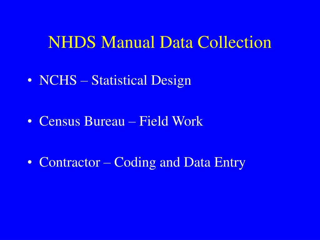NHDS Manual Data Collection