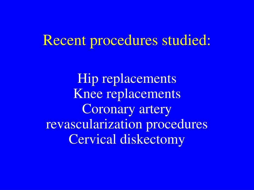 Recent procedures studied: