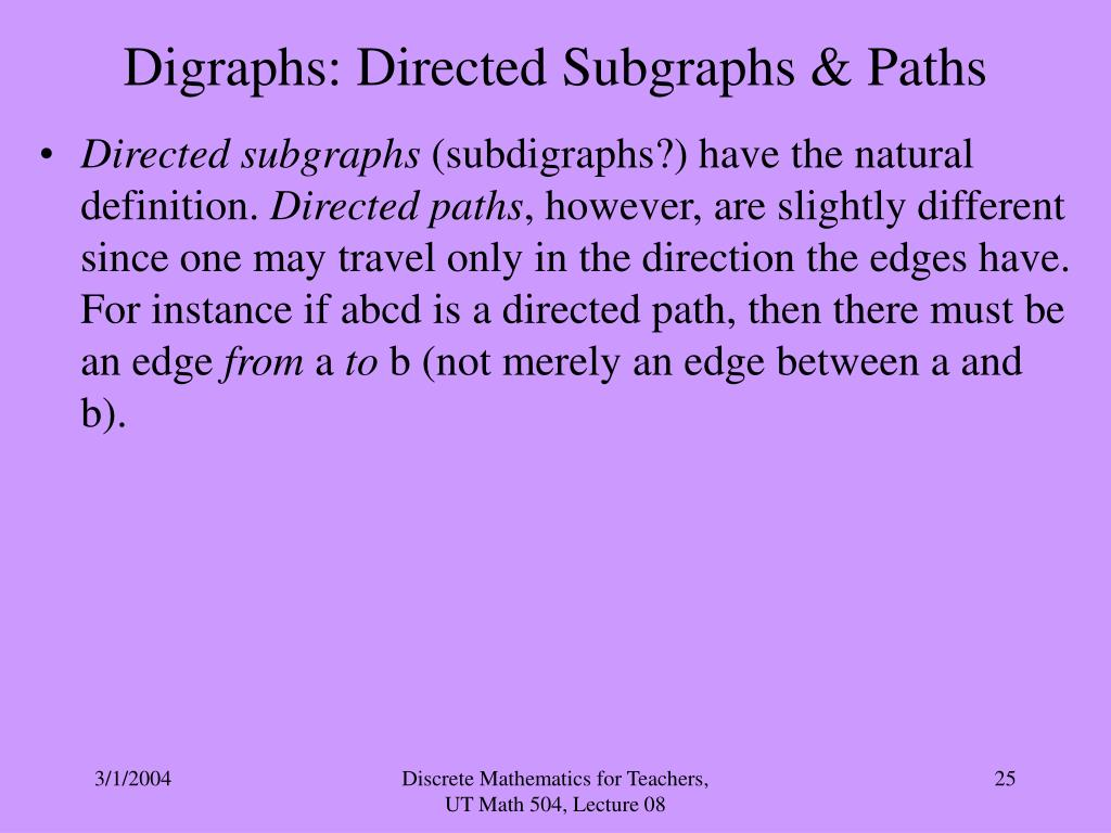Digraphs: Directed Subgraphs & Paths