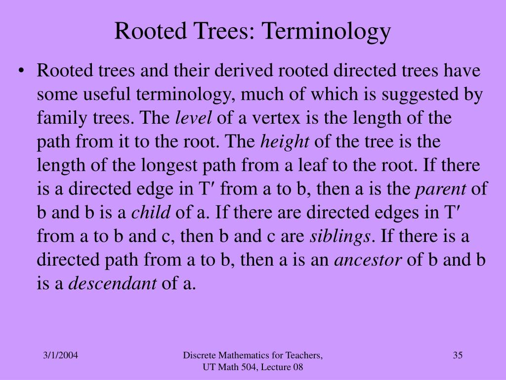 Rooted Trees: Terminology