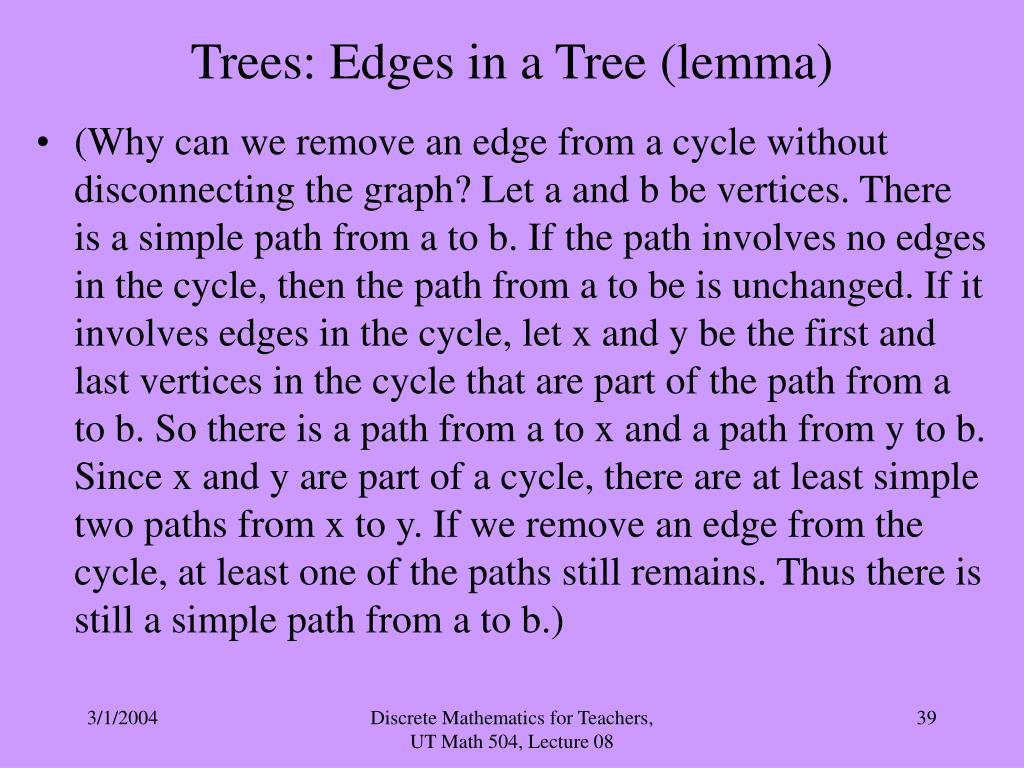 Trees: Edges in a Tree (lemma)