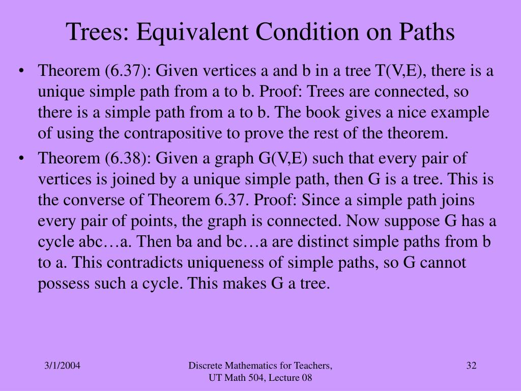 Trees: Equivalent Condition on Paths