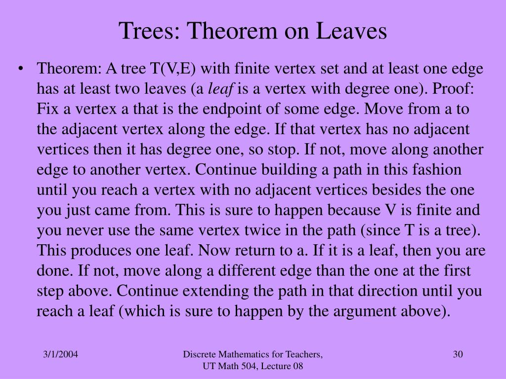 Trees: Theorem on Leaves