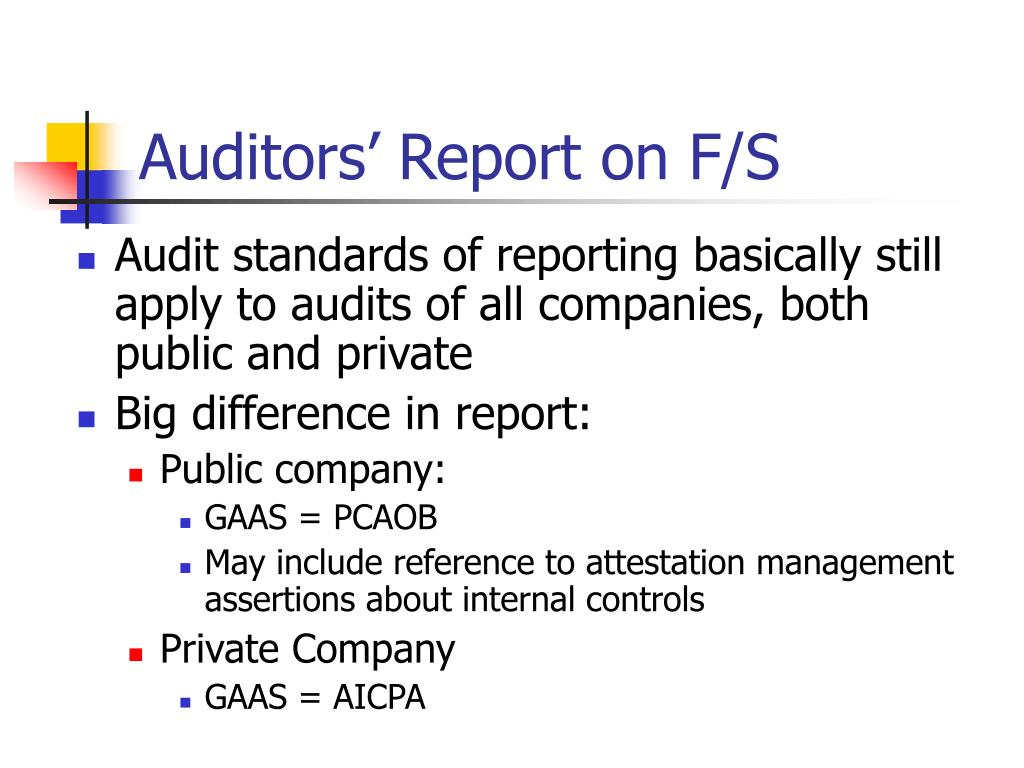 Auditors' Report on F/S