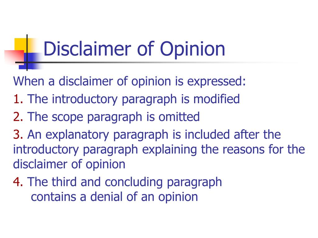 Disclaimer of Opinion