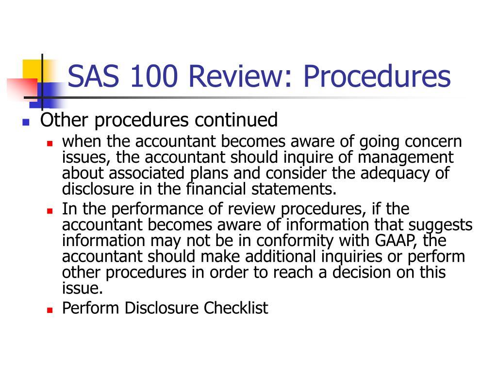 SAS 100 Review: Procedures