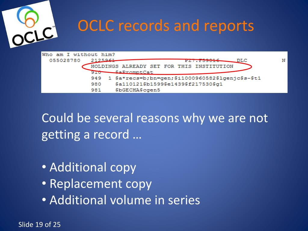 OCLC records and reports