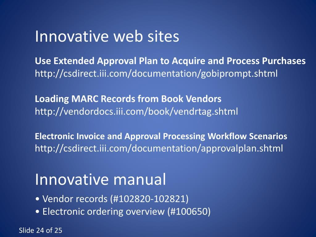 Innovative web sites