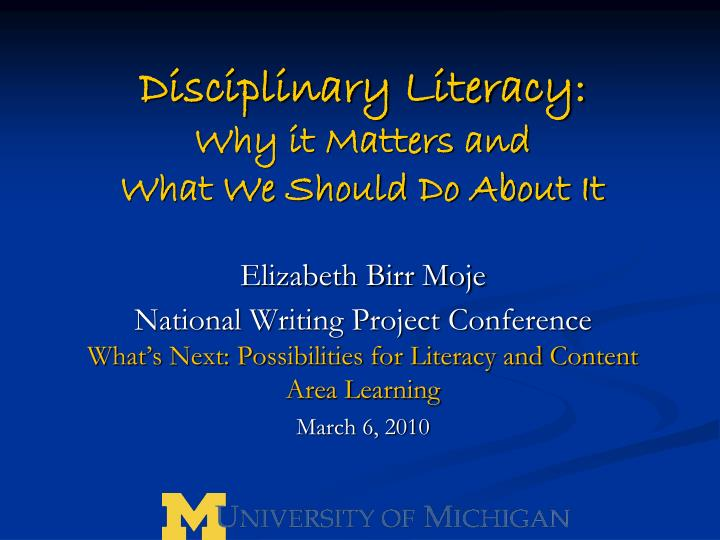 disciplinary literacy why it matters and what we should do about it n.