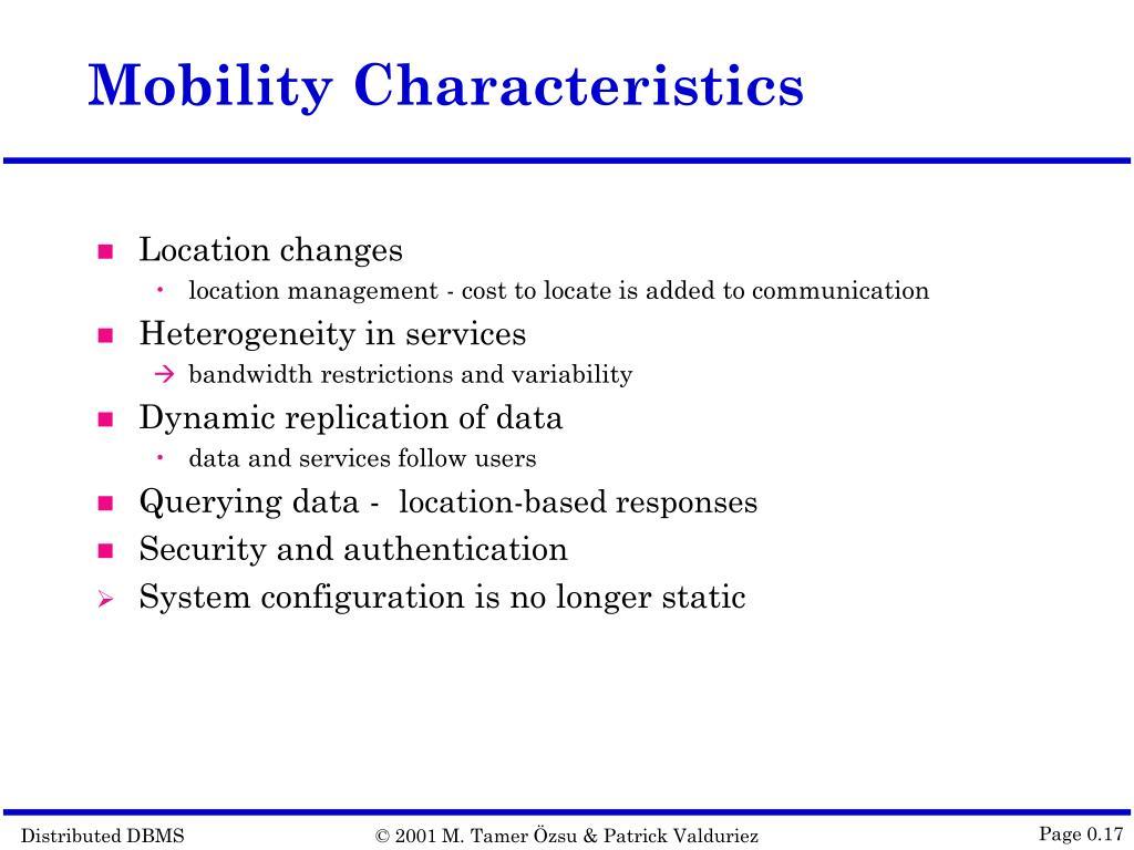 Mobility Characteristics