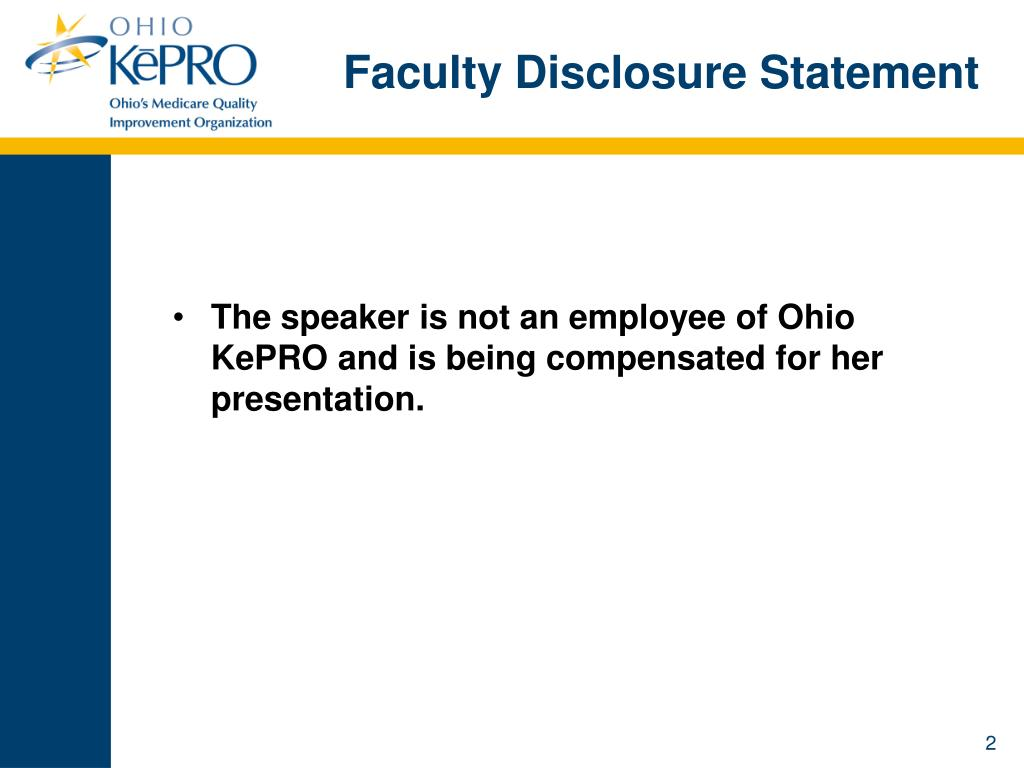 Faculty Disclosure Statement