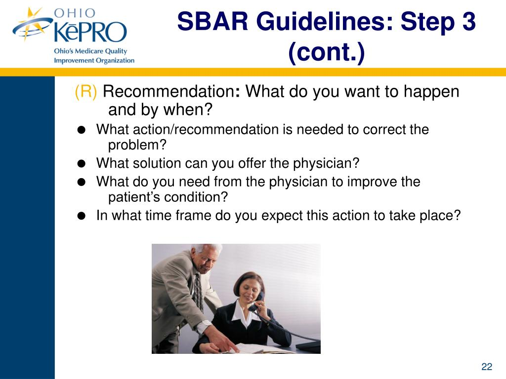 SBAR Guidelines: Step 3 (cont.)