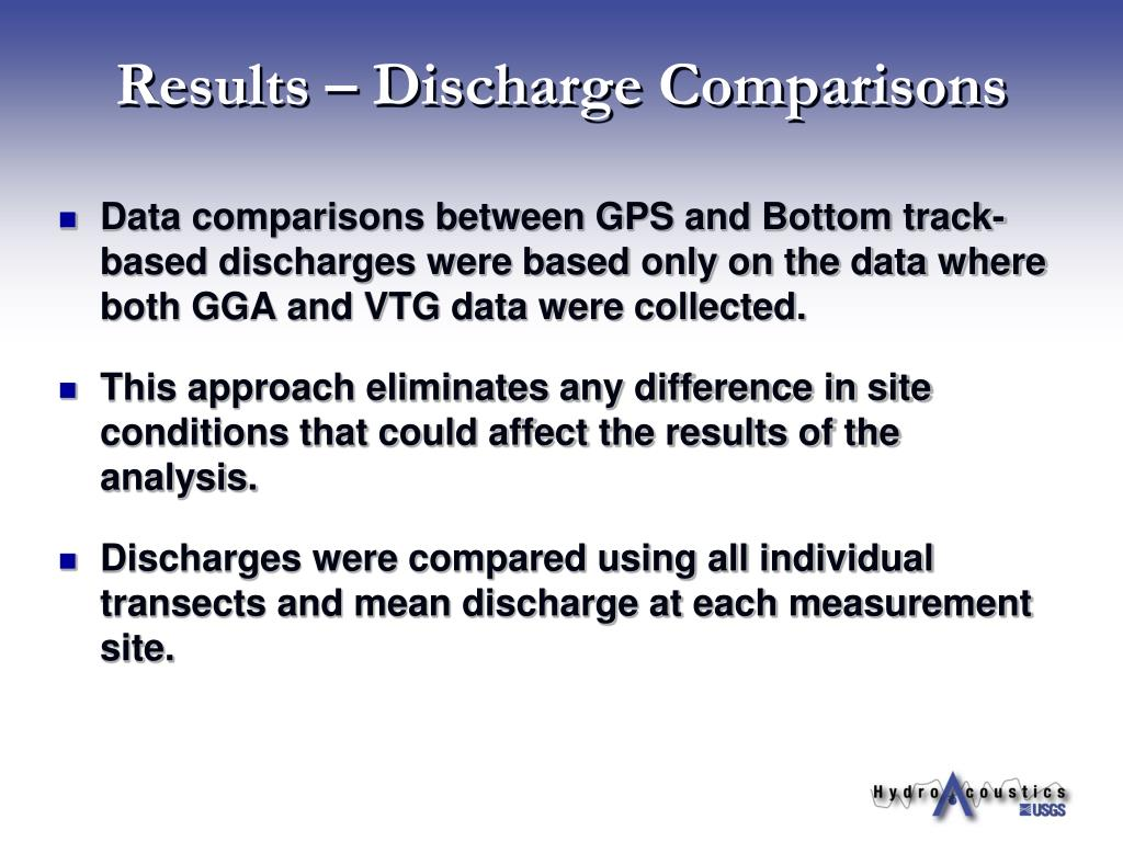 Results – Discharge Comparisons