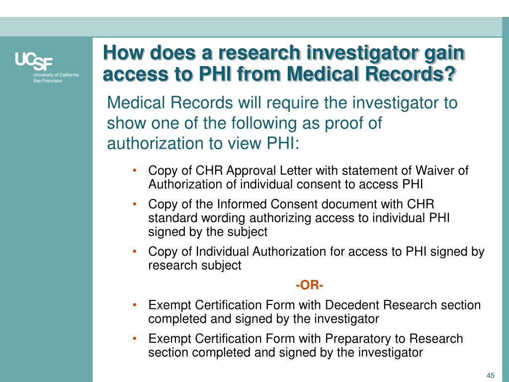How does a research investigator gain access to PHI from Medical Records?