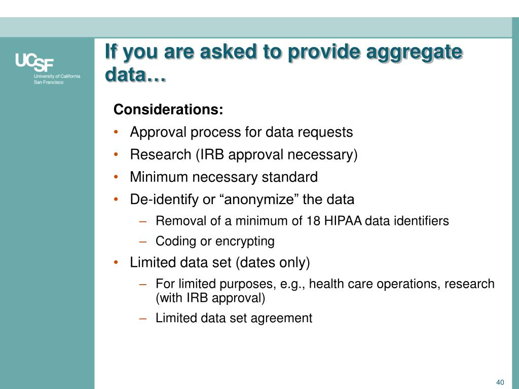 If you are asked to provide aggregate data…