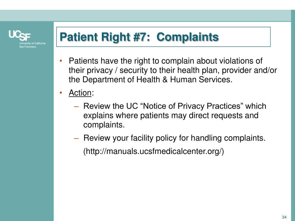 Patient Right #7:  Complaints