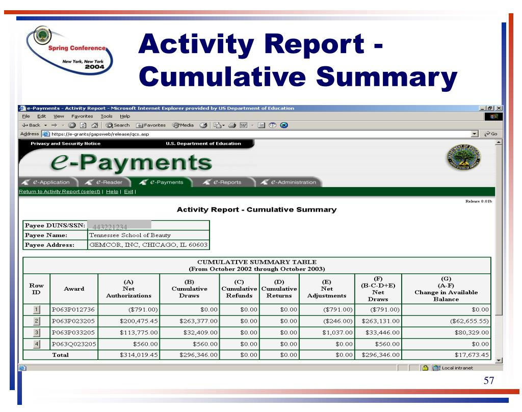 Activity Report - Cumulative Summary