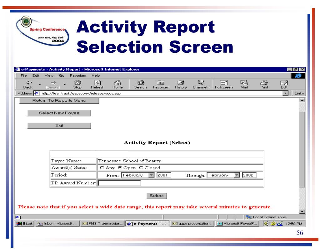 Activity Report Selection Screen