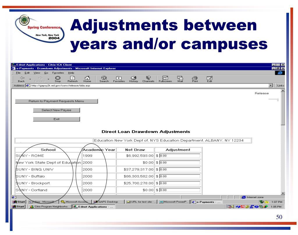 Adjustments between