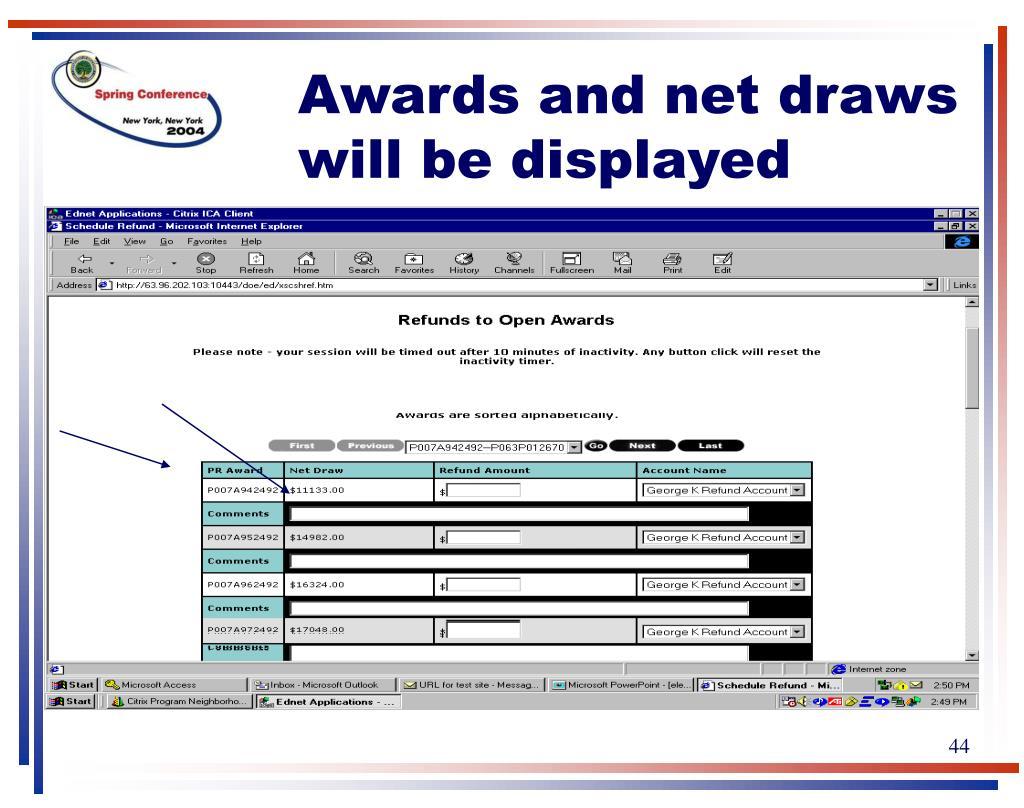 Awards and net draws