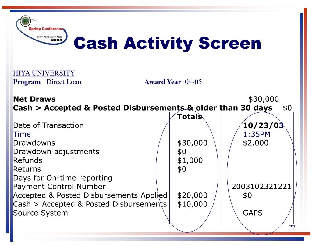 Cash Activity Screen