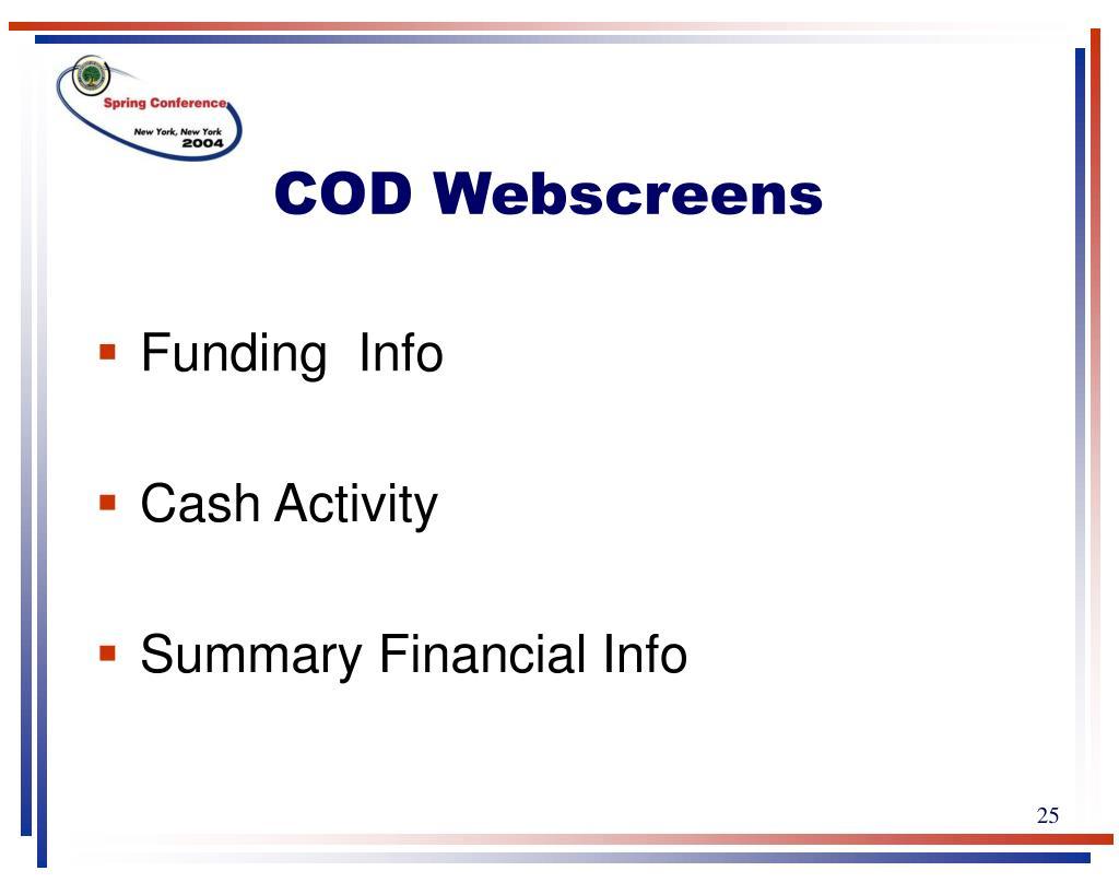 COD Webscreens