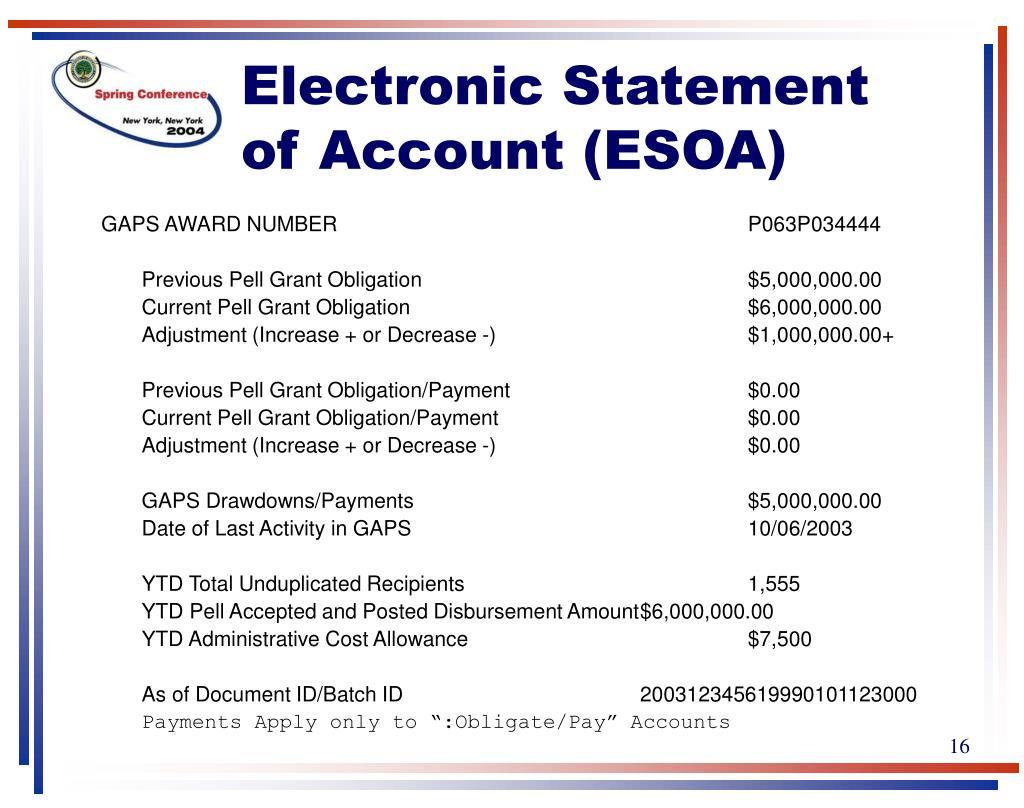 Electronic Statement of Account (ESOA)