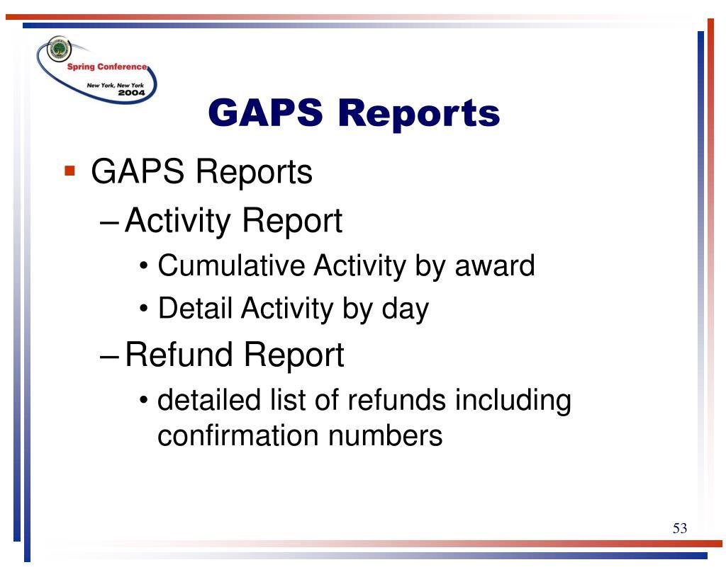 GAPS Reports