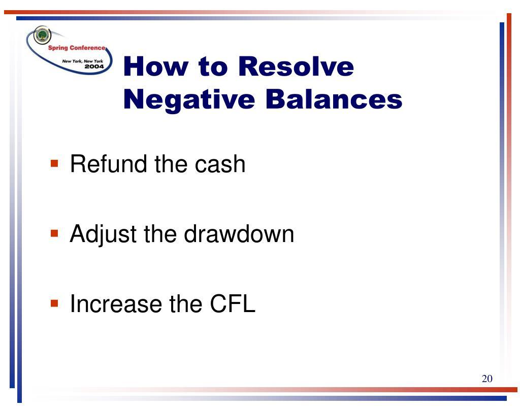 How to Resolve Negative Balances