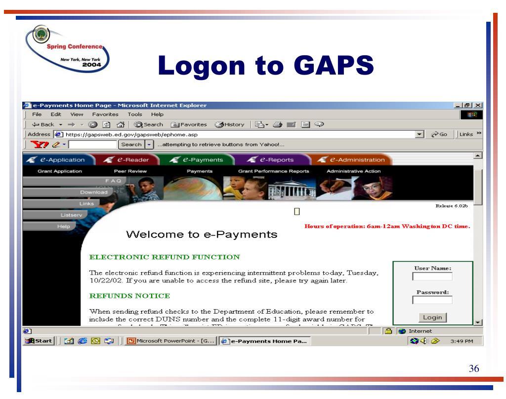 Logon to GAPS