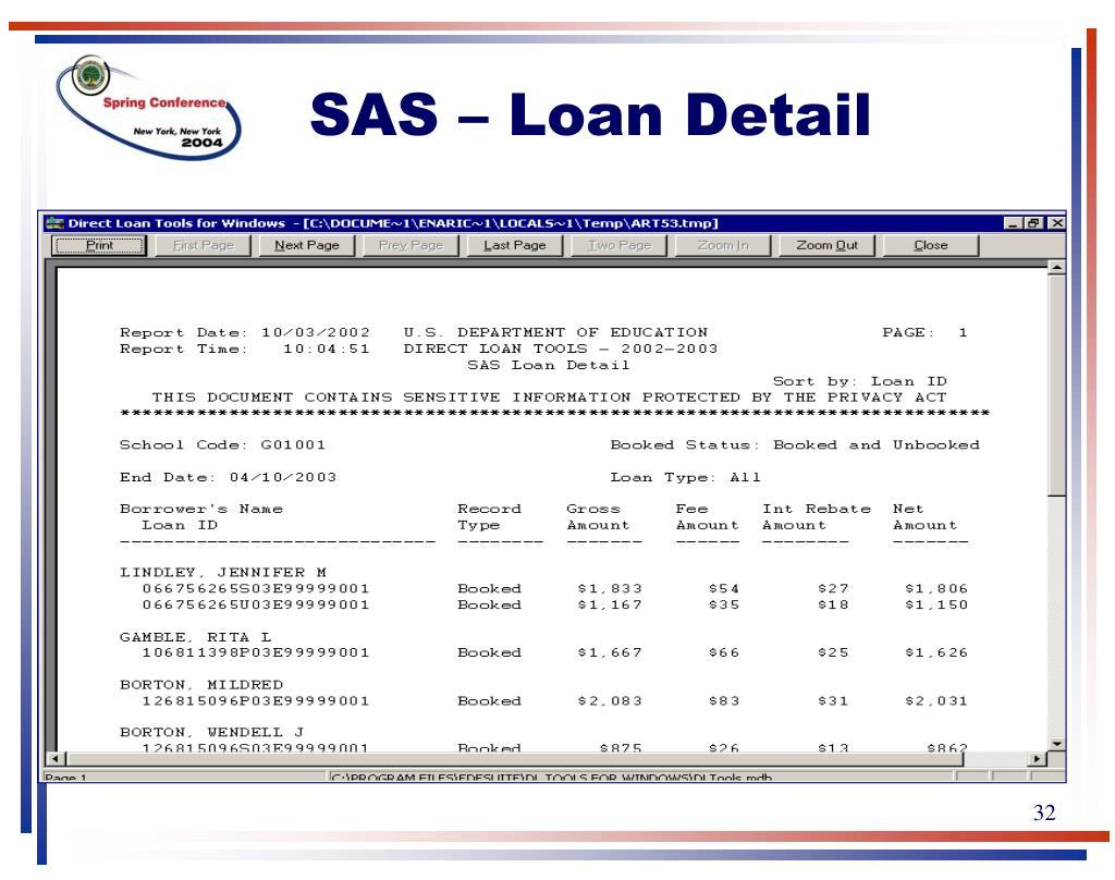 SAS – Loan Detail