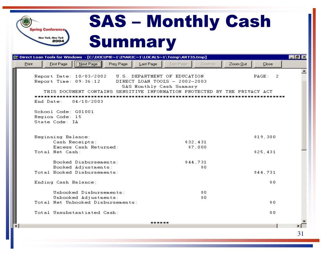 SAS – Monthly Cash Summary