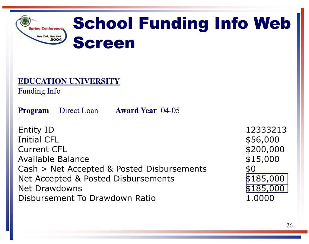 School Funding Info Web Screen