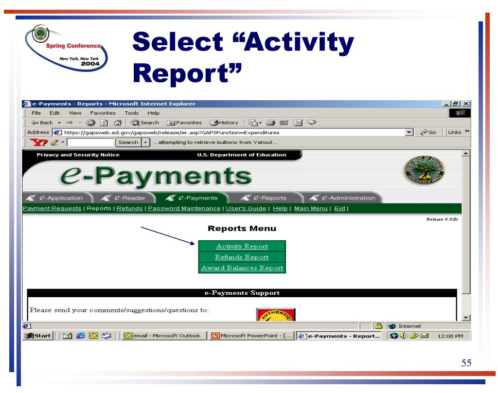 """Select """"Activity Report"""""""