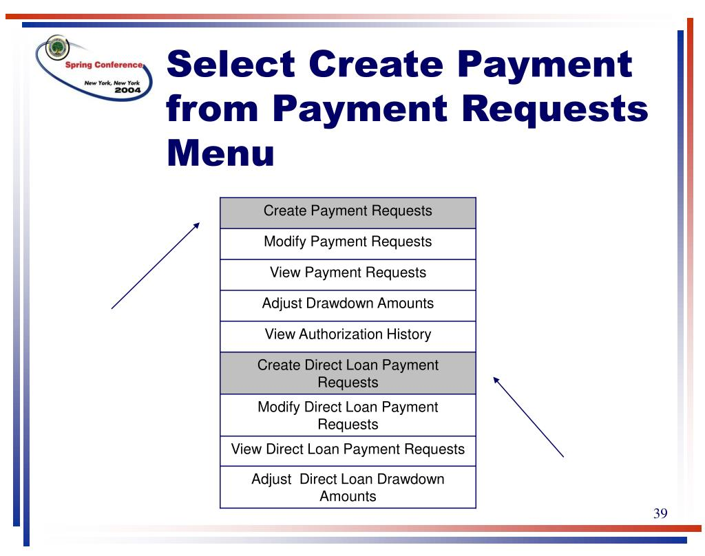 Select Create Payment from Payment Requests Menu