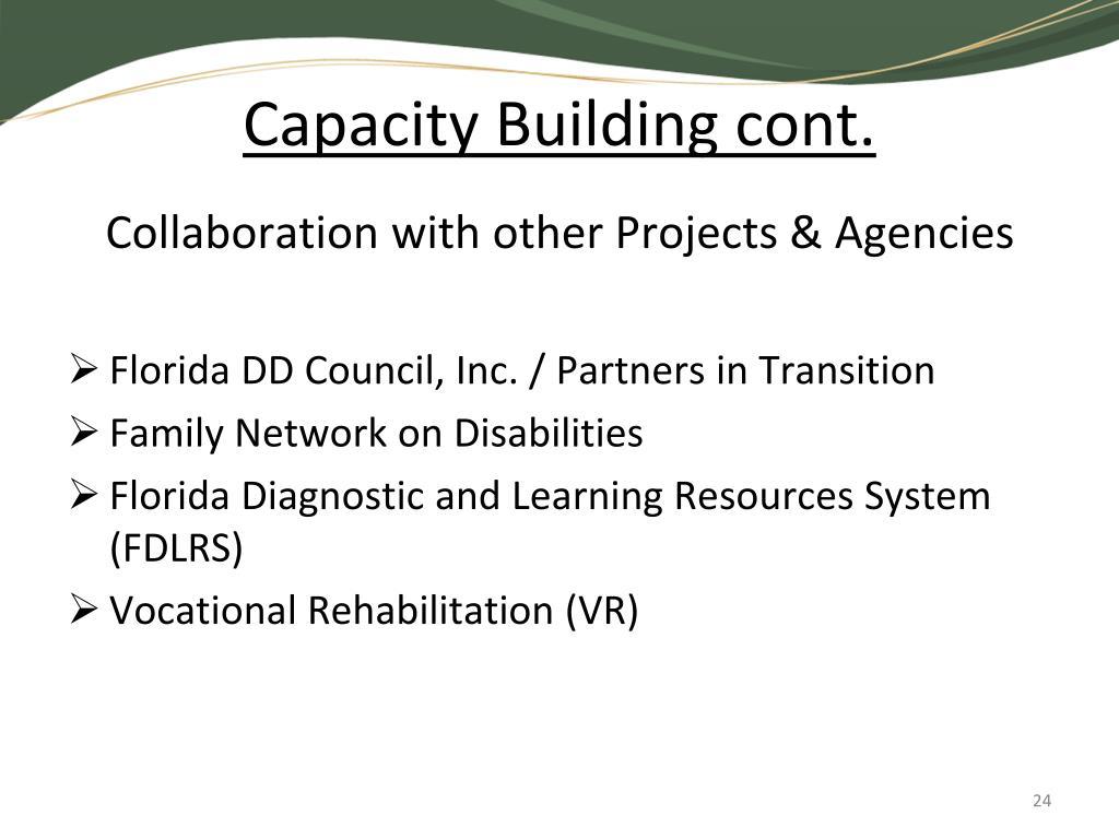 Capacity Building cont.
