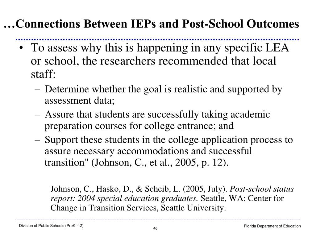 …Connections Between IEPs and Post-School Outcomes